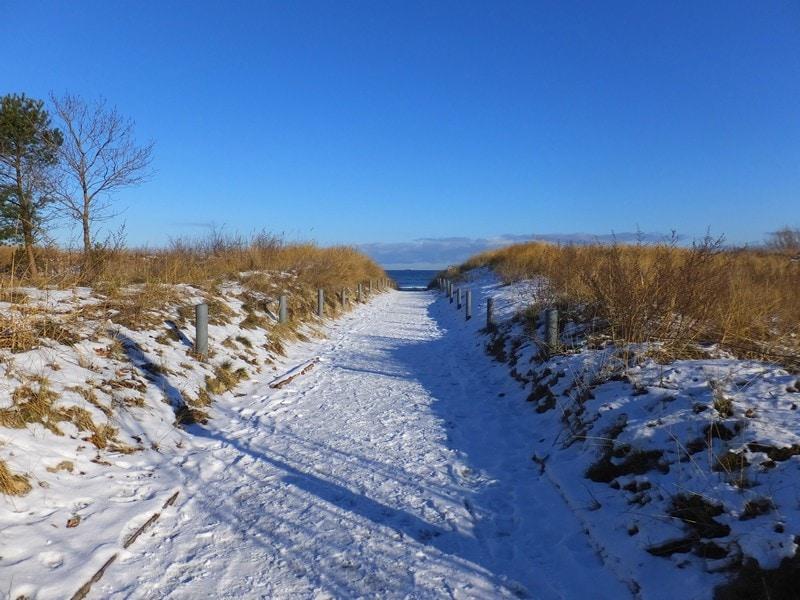 Zugang zum Achterwasser in der Winterzeit